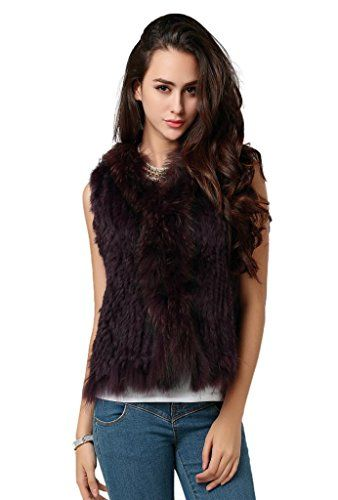 Ferrand-Women s Real Rabbit Knitted Fur Gilet Vest with Tassels-Purple-XS  Ferrand ede9eaedcd