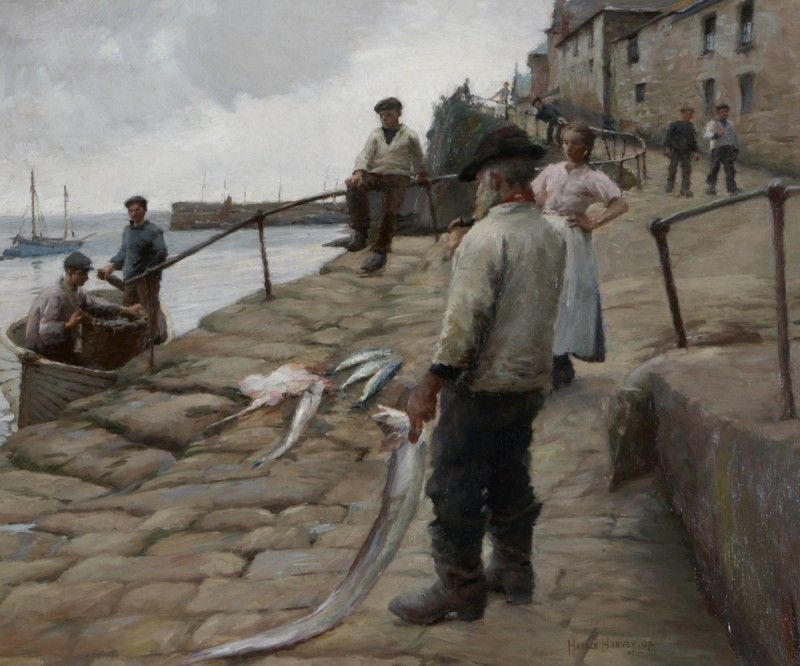 Newlyn Harbour - Harold C. Harvey,   1874–1941