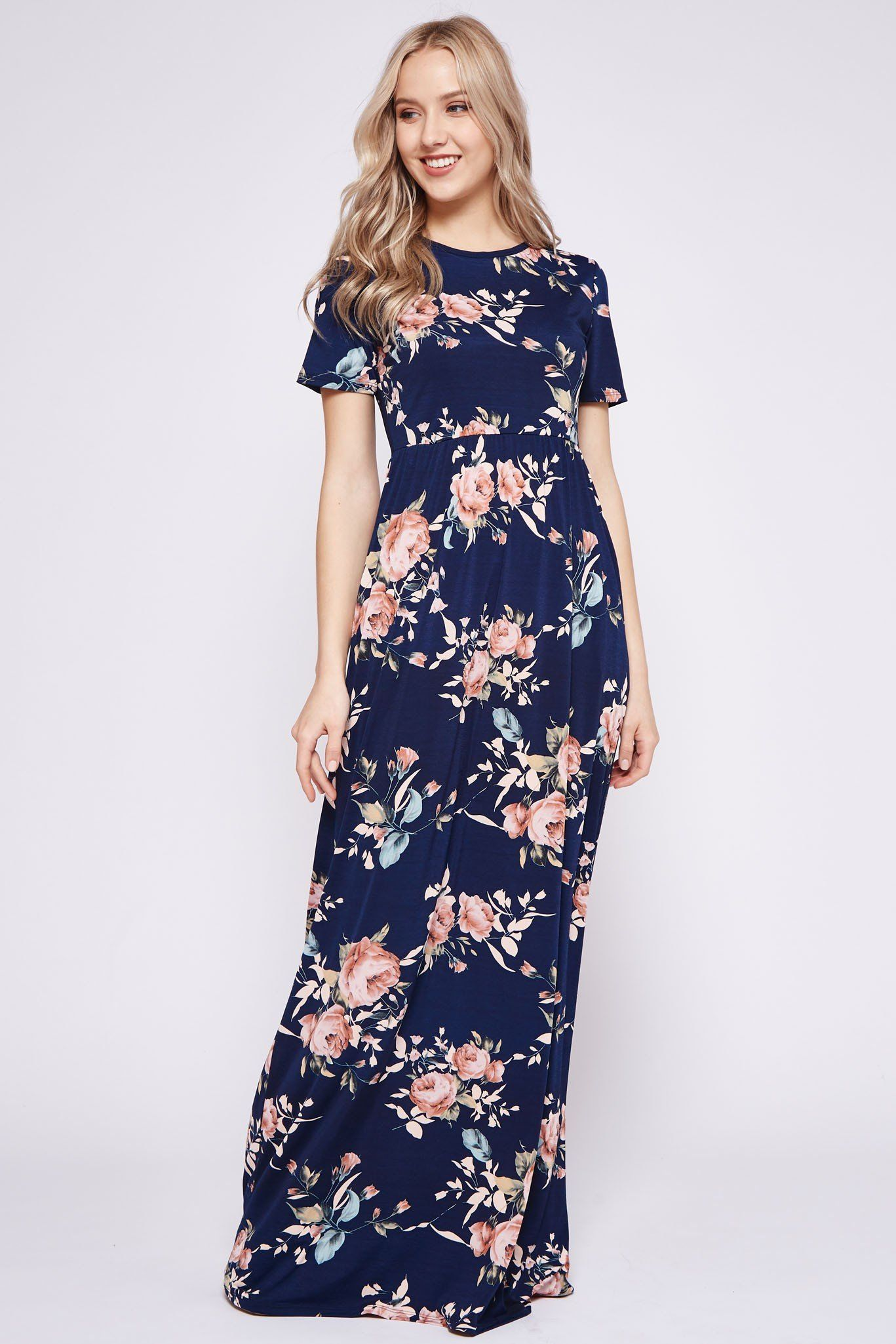 e0775139b91 2018 Spring Navy Blue Floral Printed Poly Spandex High Low Tank Maxi Dress  Pre Order