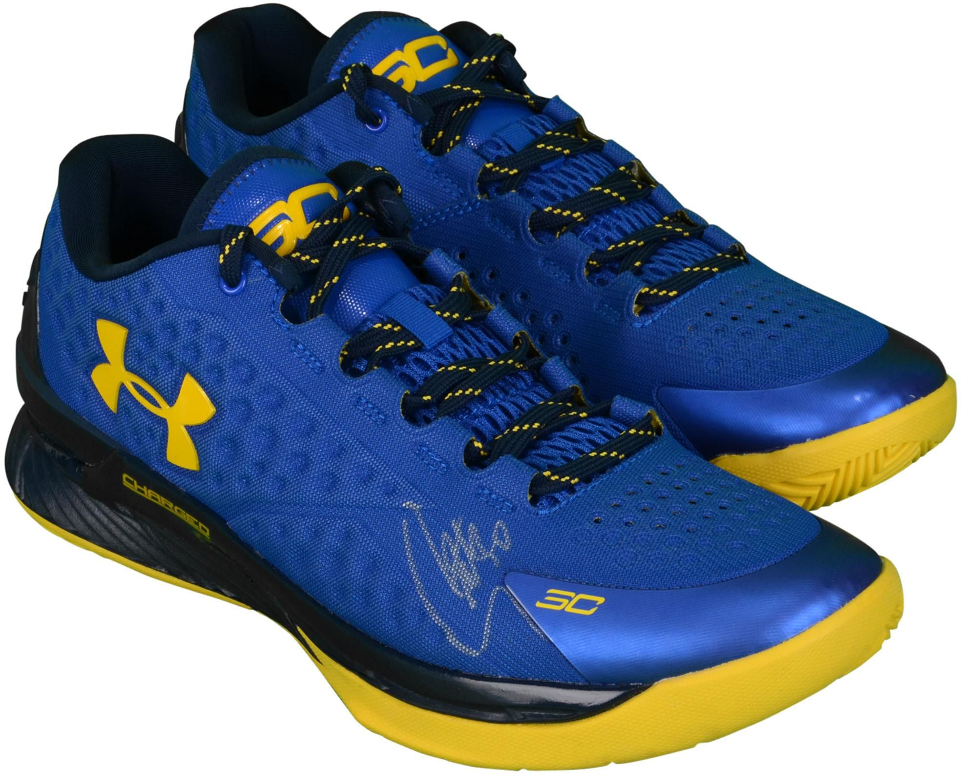 1eb380733458 Stephen Curry Golden State Warriors Autographed Curry 1 Blue and Yellow  Shoes