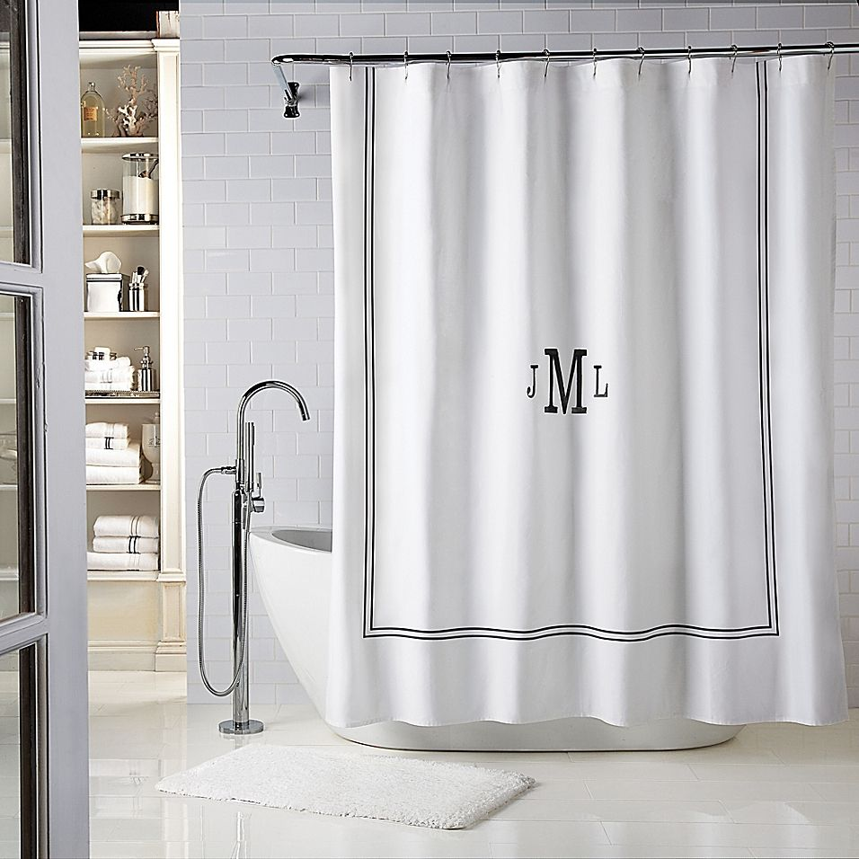 Wamsutta Baratta 54 X 78 Personalized Shower Curtain In White