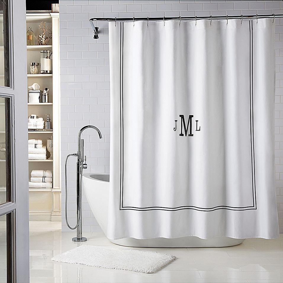 Wamsutta Baratta 54 X 78 Personalized Shower Curtain In White