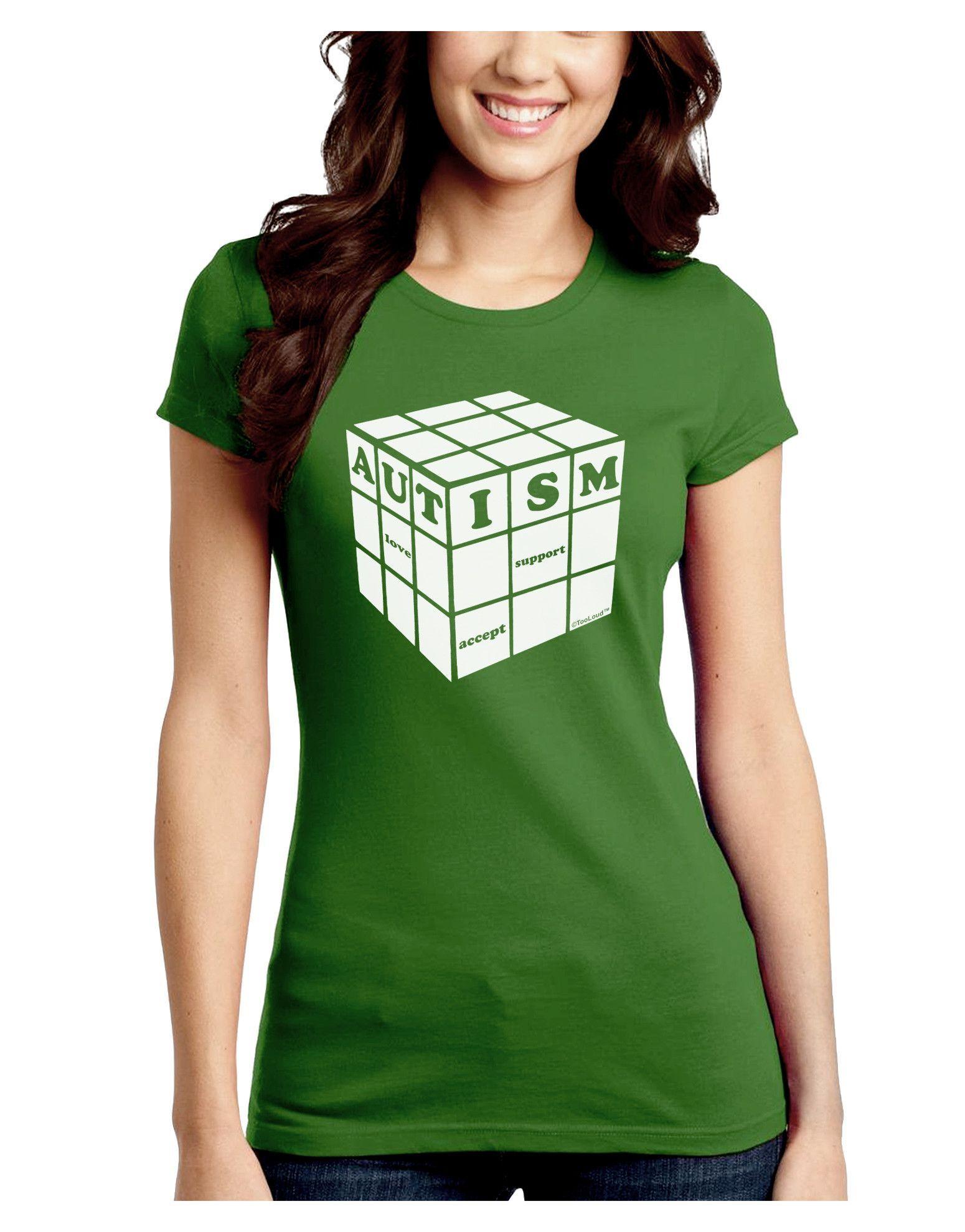TooLoud Autism Awareness - Cube B & W Juniors Crew Dark T-Shirt