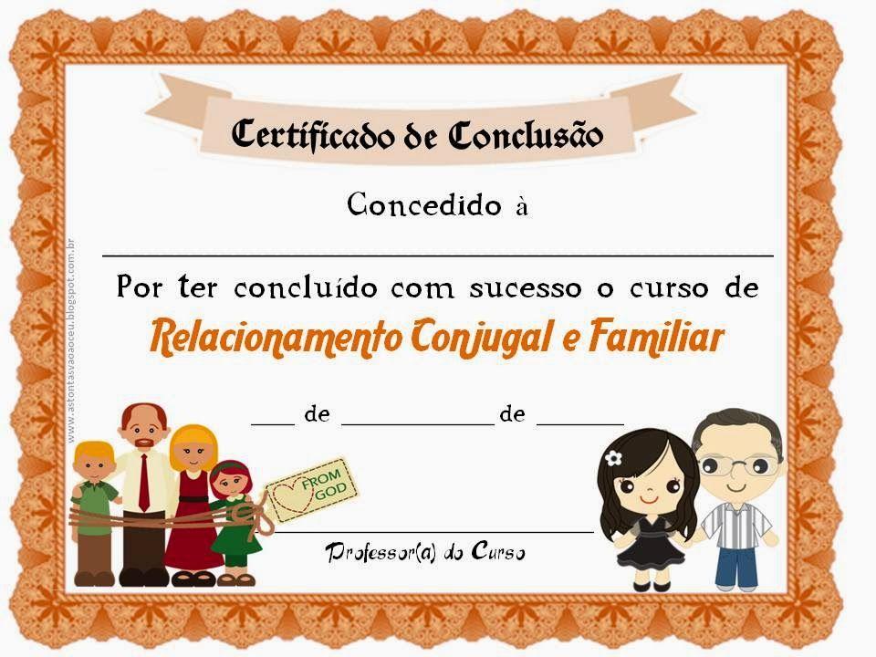 As Tontas Vão Ao Céu: Certificado de Conclusão - Curso de Relacionamento...