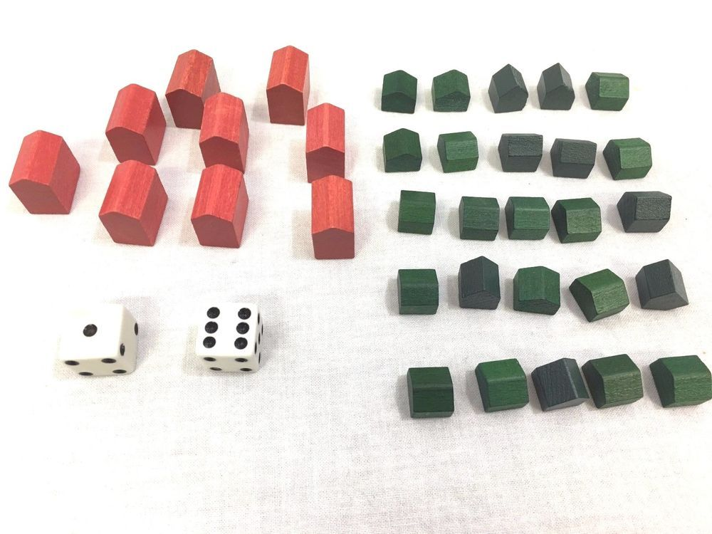 Monopoly 00011 Lot Of 25 Green Wood Houses 9 Red Wood Hotels Dice