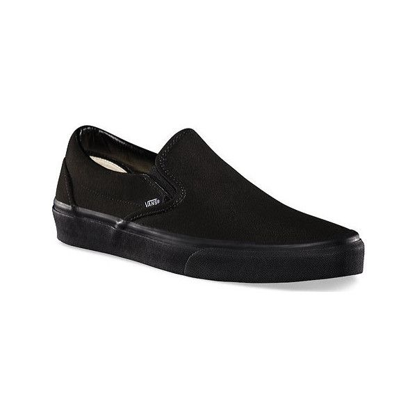 Vans Classic Slip-On - Black/Black Canvas Shoes ($45) ❤ liked on Polyvore featuring shoes, black, canvas footwear, kohl shoes, black shoes, flexible shoes and canvas shoes