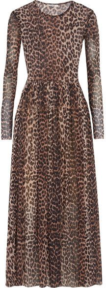 7bb4970f346 GANNI - Tilden Leopard-print Stretch-mesh Maxi Dress - Leopard print My Wish