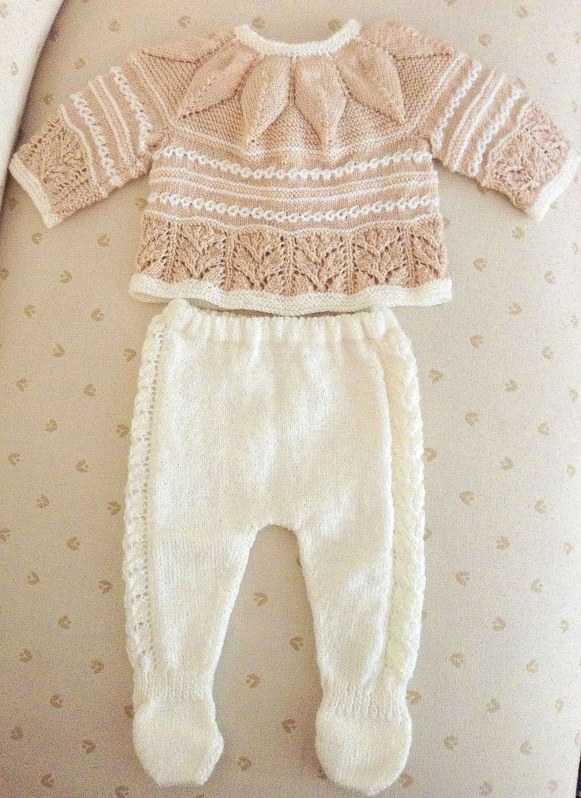 Jubón y polainas bebé a dos agujas. Baby knit sweater and pants. New ...