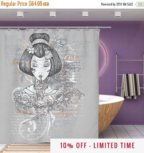 Japanese Shower Curtain - Silent Geisha Shower Curtain - 70\