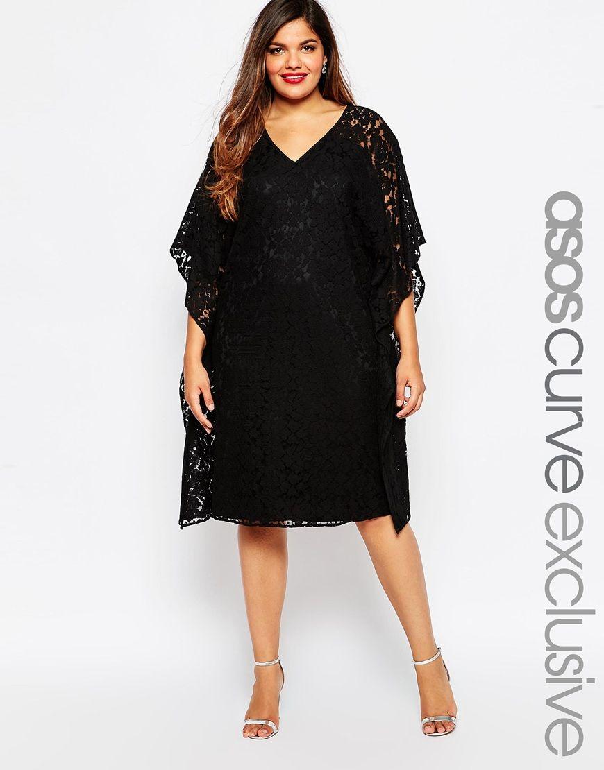 Black v neck dress asos curve