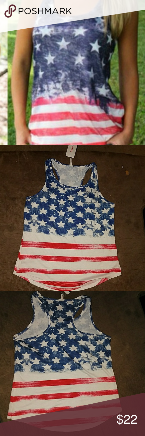 🇺🇸***stylish sexy and proud ***🇺🇸 NWT American flag tank top perfect for summer holiday or anytime size  XL fits more like a L new still in bag FAVLOOK Tops Tank Tops