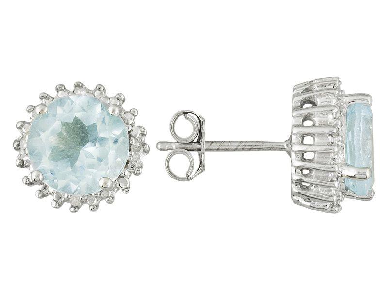 3.00ctw Round Glacier Topaz(Tm) With .02ctw Round White Four Diamond Accent Silver Stud Earrings