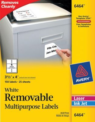 Avery® Inkjet/Laser Removable Labels, White, 150/Pack (6464) | Wish