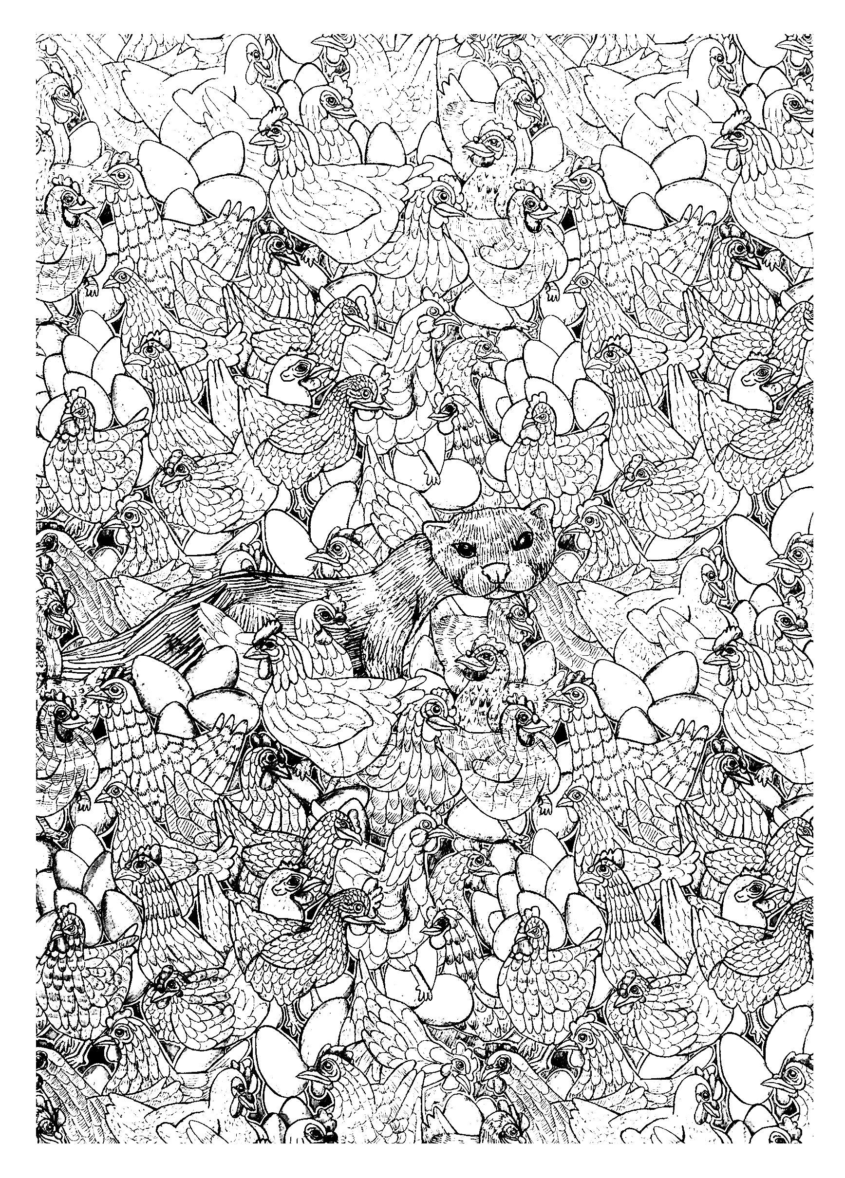 Free coloring page coloring-adult-hen-ferret-complex. Complex ...