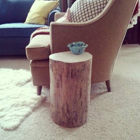 handmade real log side table (oak) greenville craigslist shipping - craigslist greenville