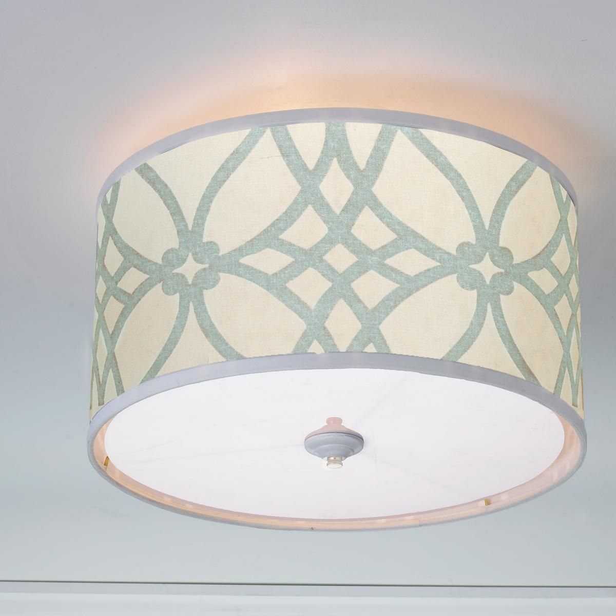 Trellis Linen Drum Shade Ceiling Light A classic trellis print on fine linen is…