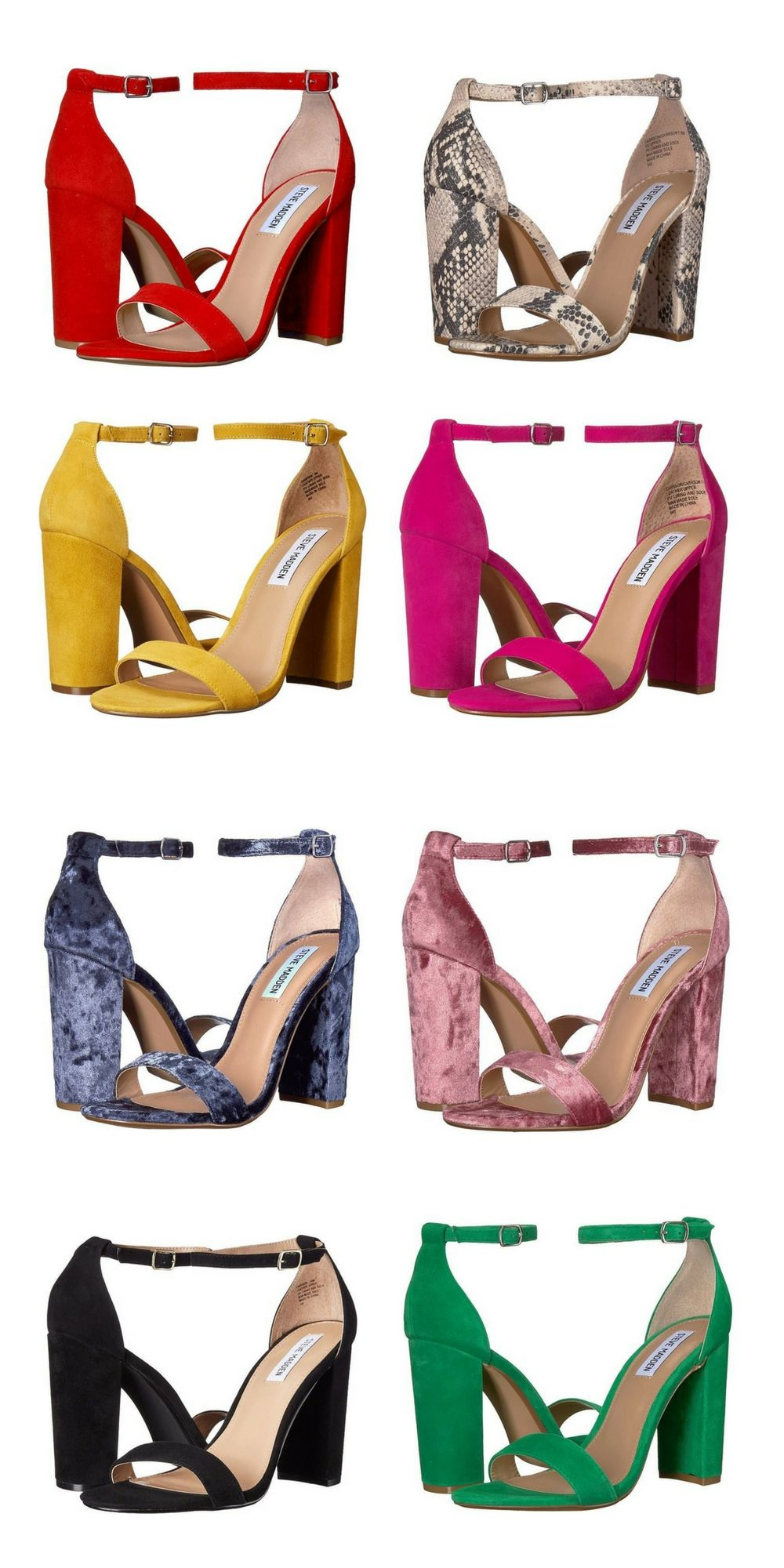 f9b605a49f4 Steve Madden Carrson Heeled Sandals. Red Suede, Snake, Yellow Suede ...