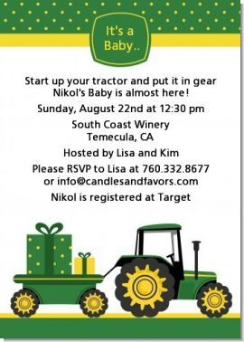Tractor Truck Baby Shower Invitations Baby Baby Shower