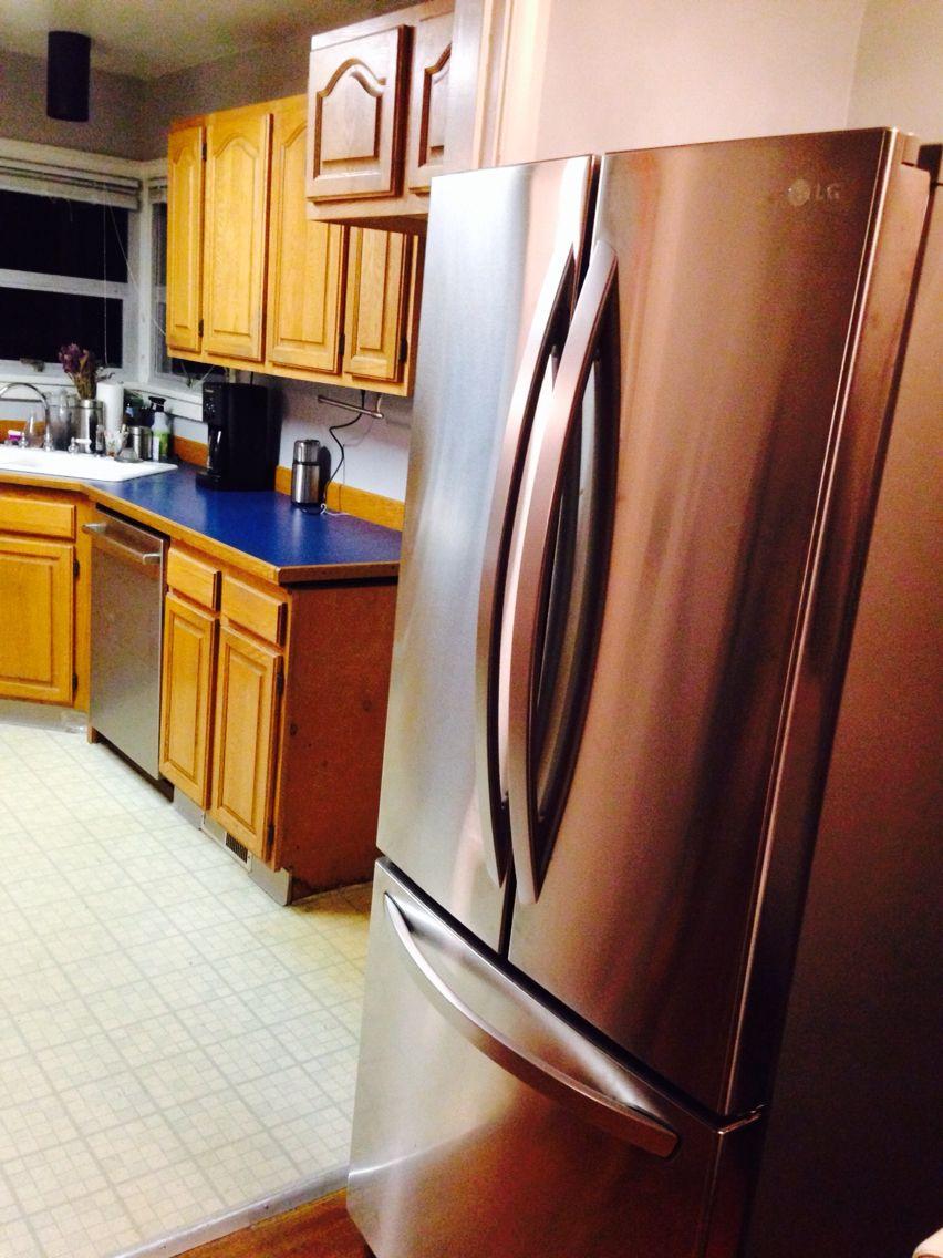 Slight Problem Fridge Doesn T Fit Through Door Removing Unneeded Door Jam On Trim To Permanently Make Door Wider An Door Jam Home Projects Kitchen Appliances