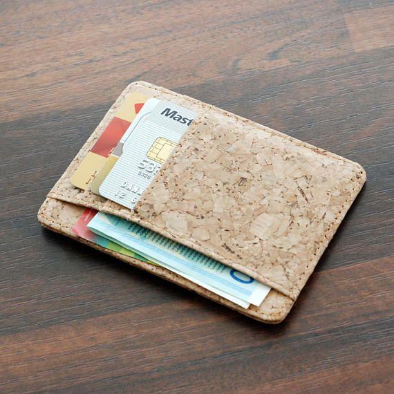 93d93044d516 Slim Wallet,Vegan Brown men's Wallet, Minimalist Wallet, Eco ...