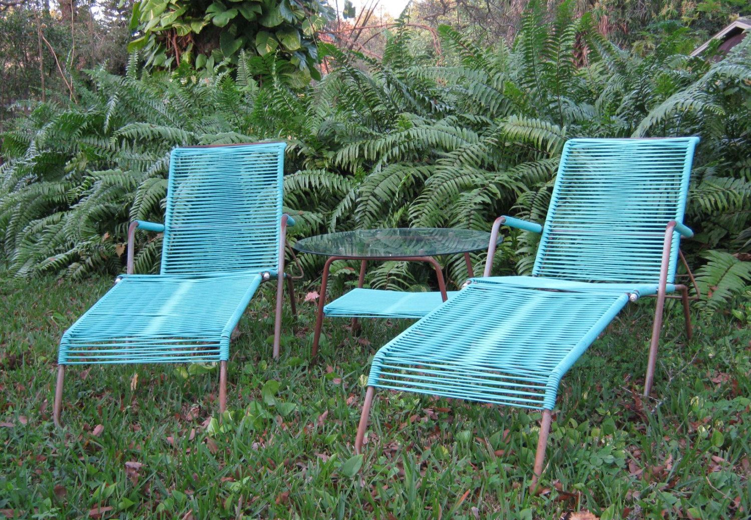 Vintage Lawn Furniture    Turquoise Patio Chairs    Lounge Chairs U0026 Table  By Telescope