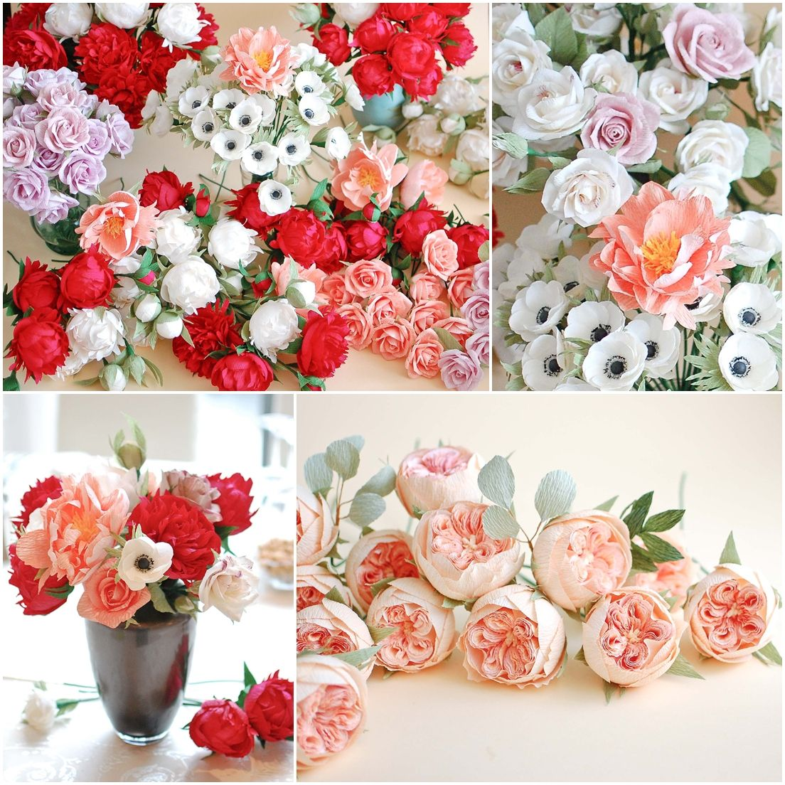 Red and coral paper flowers 3 flower diy pinterest red and coral paper flowers 3 mightylinksfo