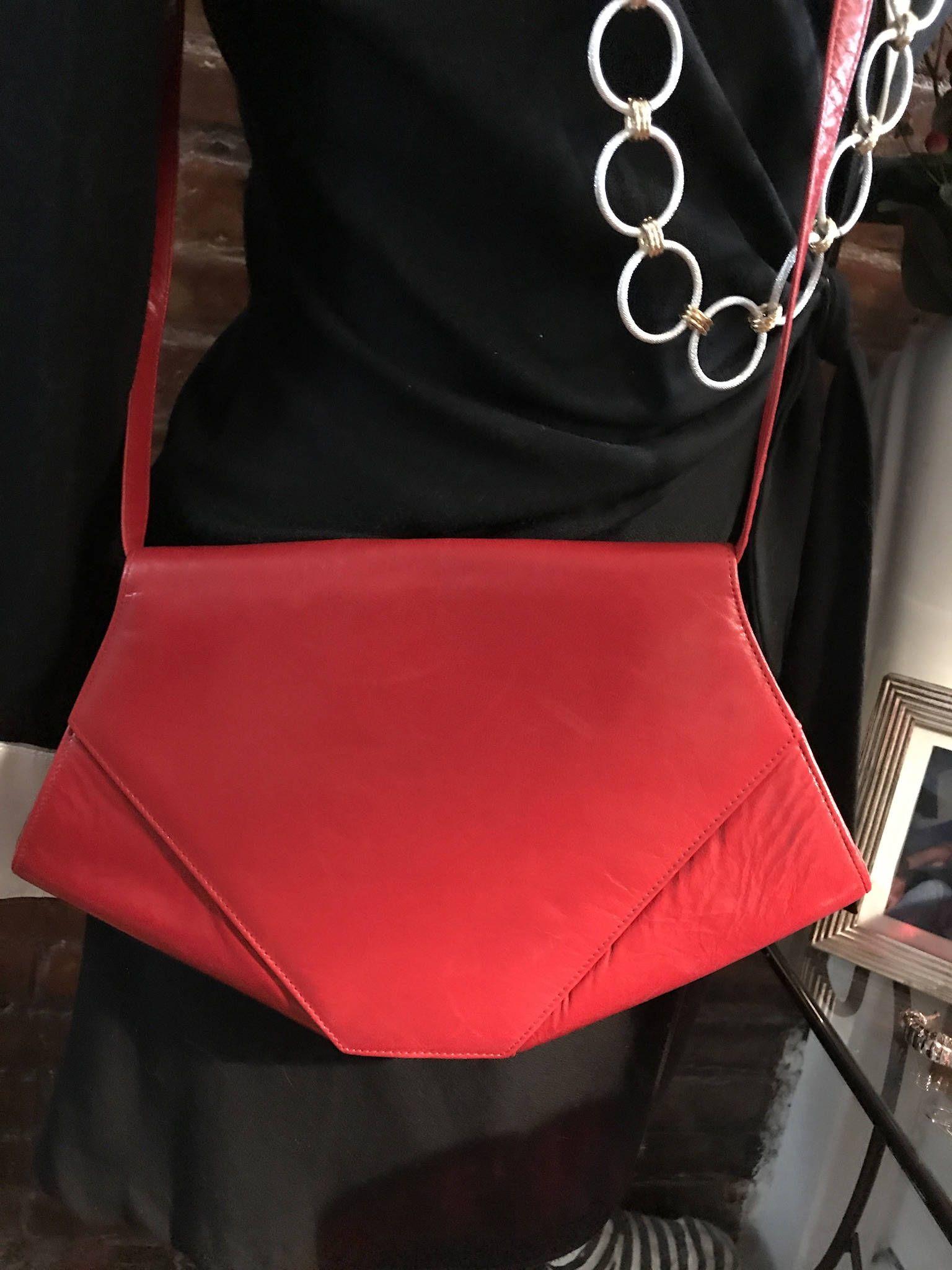 Lovely Vintage Charles Jourdan Red Leather Purse Shoulder Bag Crossbody Handbag Made In France Red Leather Purse How To Make Handbags Vintage Handbags