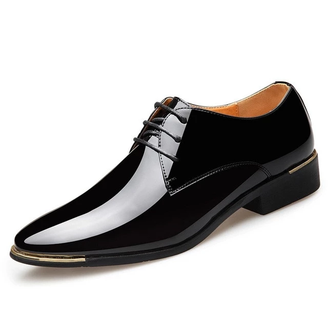 Oxfords Mens Dress Formal Patent Leather Casual Pointy Toe Slip On Wedding Shoes