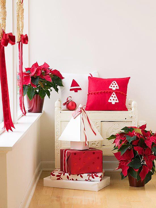 Decoración navideña en tonos rojos Feliz Navidad Pinterest