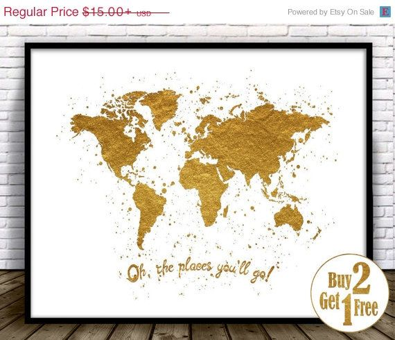 Oh the places youll go travel quote print dr seuss quote world oh the places youll go travel quote print dr seuss quote world map art print nursery decor gold home decor faux gold foil gumiabroncs Image collections