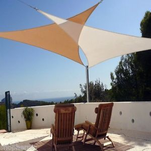 Set Of 2 Coolaroo Ready To Hang 13ft Triangle Sun Shade Sail Awning Canopies