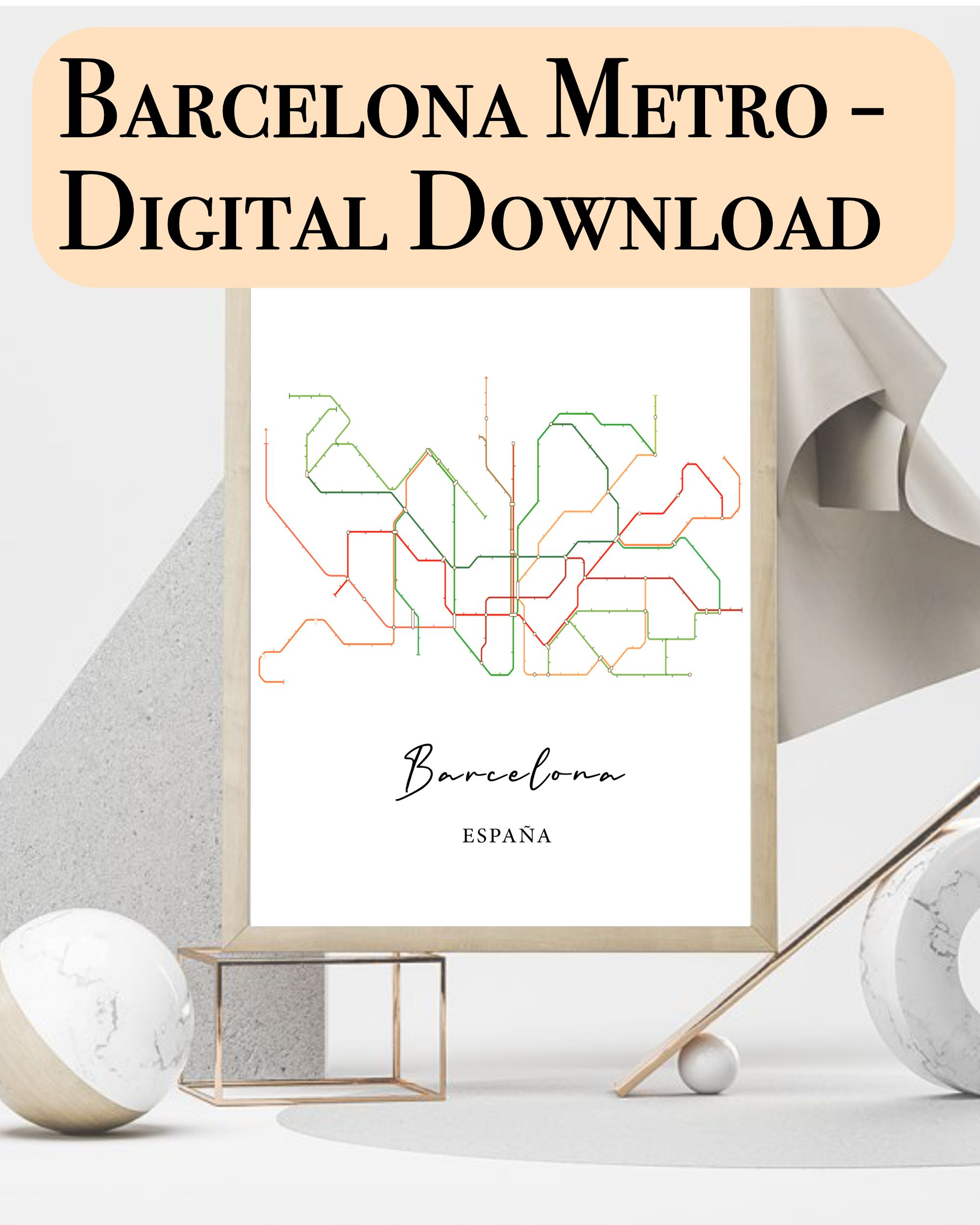 One of a kind special poster of the metro map of Barcelona. Do you love Barcelona and are you a fan of minimalistic art? You will love this art piece. You are completely in control of how you can print it, frame it and where you want to place it!  No extra or hidden costs!  barcelona poster, barcelona spain, barcelona metro, barcelona art, spain art, minimalistic art, digital downloadprintable, digital poster, barcelona city mapbarcelona print, barcelona map line, barcelona art print