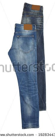 Two pair of blue jeans isolated on white background - stock photo