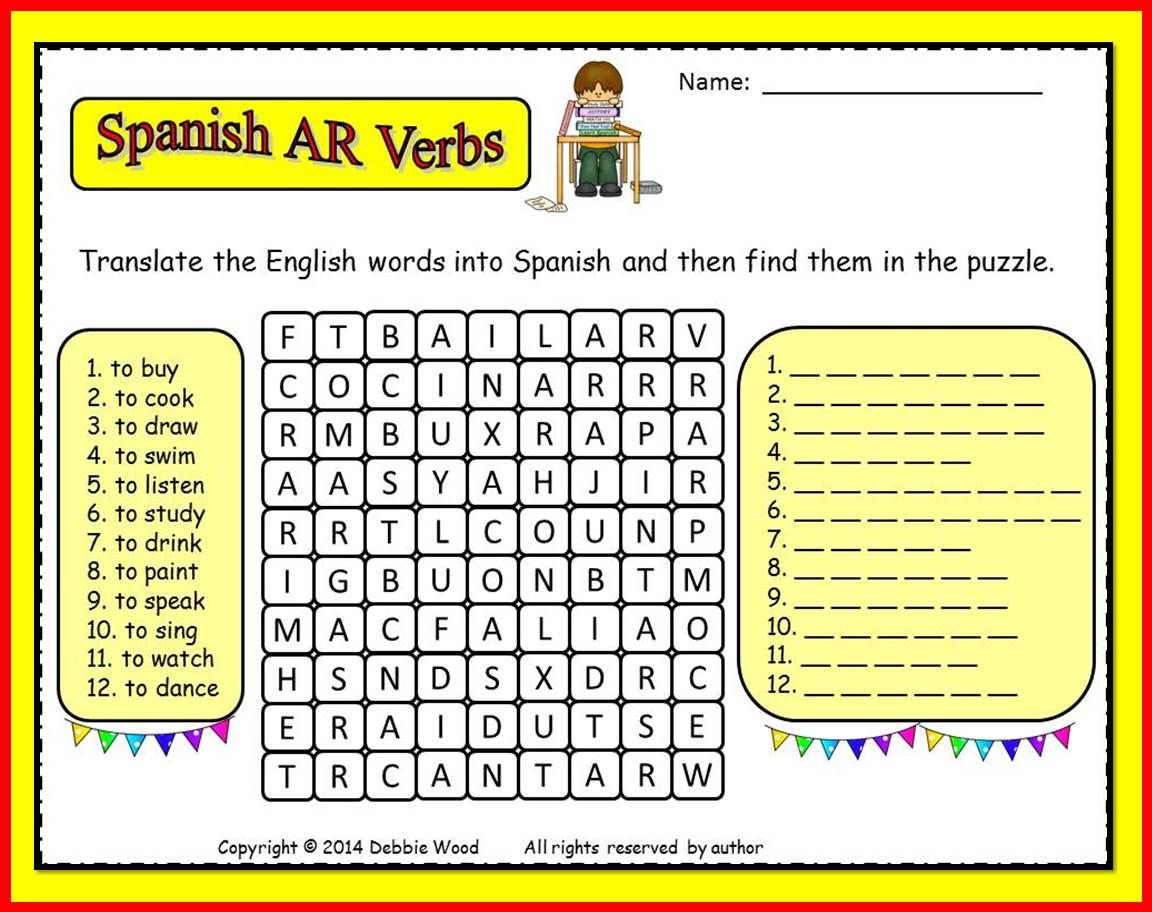 Worksheet List Of Ar Words pinterest the worlds catalog of ideas spanish ar verbs freebie translate and find word search