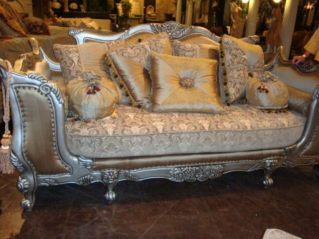 Country French Tapestry Sofa And Love Seat Carved Loveseat Silk Fabric