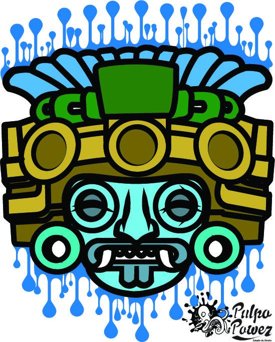 Tlaloc Ilistracion Digital Arte Azteca Obras De Arte Mexicano Diseno Grafico Mexicano