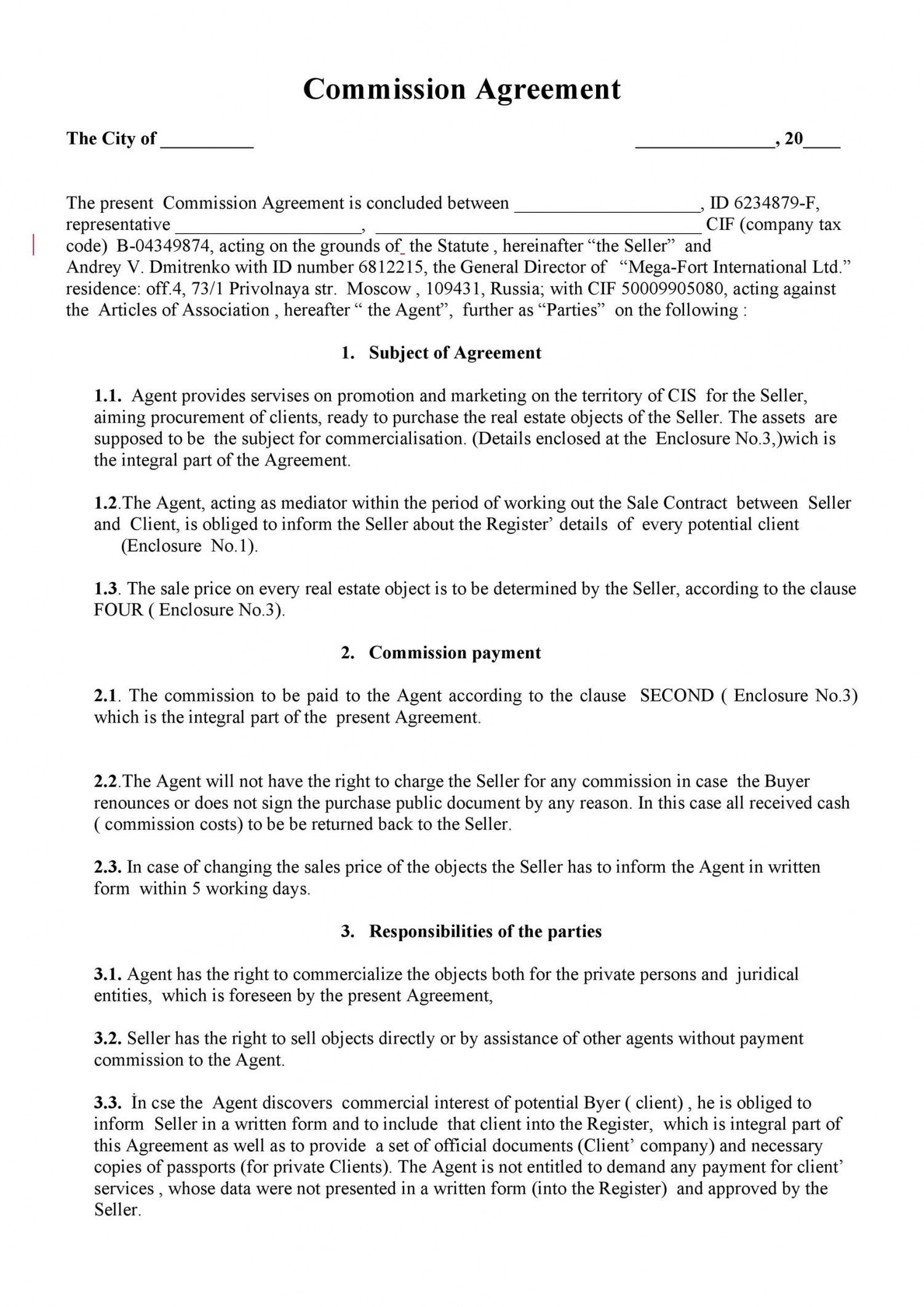 Browse Our Sample Of Sales Compensation Agreement Template For Free Contract Template Real Estate Broker Agreement