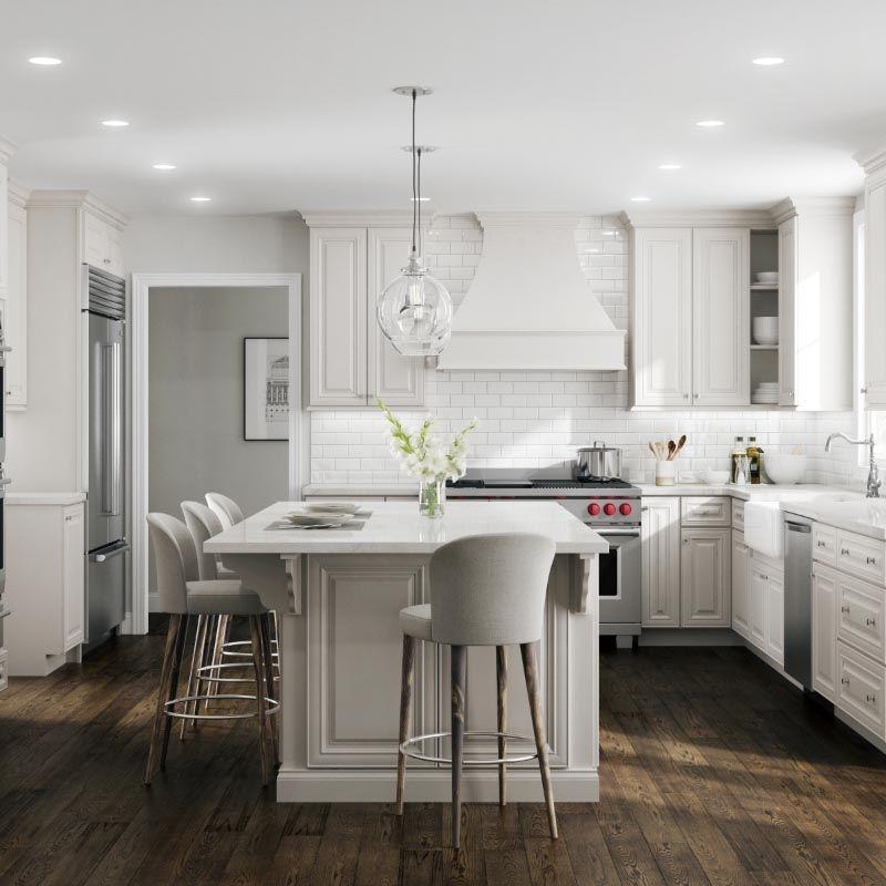Bristol Linen White Kitchen Cabinets | 10x10 RTA Linen ...