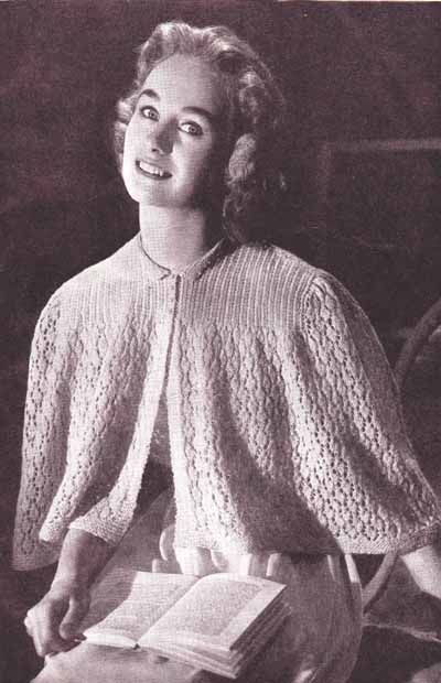 Cape Style Bed Jacket 1940s Knitting Pattern Mine Crafts
