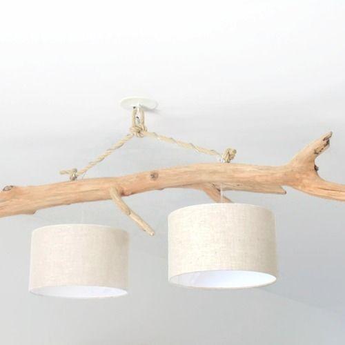 lustre bois flott lin 30 cm double suspension led. Black Bedroom Furniture Sets. Home Design Ideas
