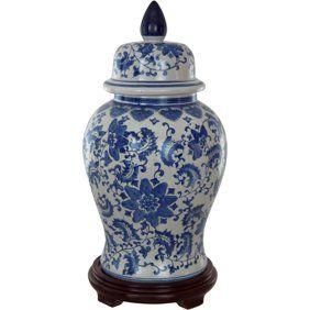 Home Oriental Furniture White Porcelain Temple Jar