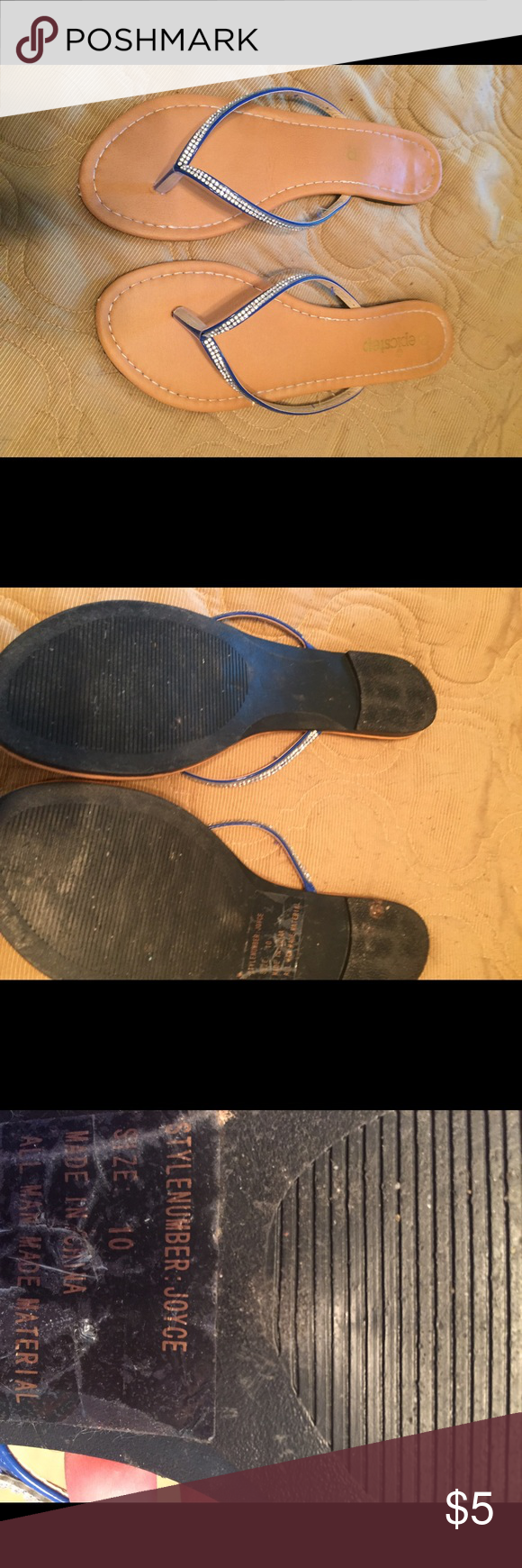 Bling blue flippers Super cute Shoes Sandals