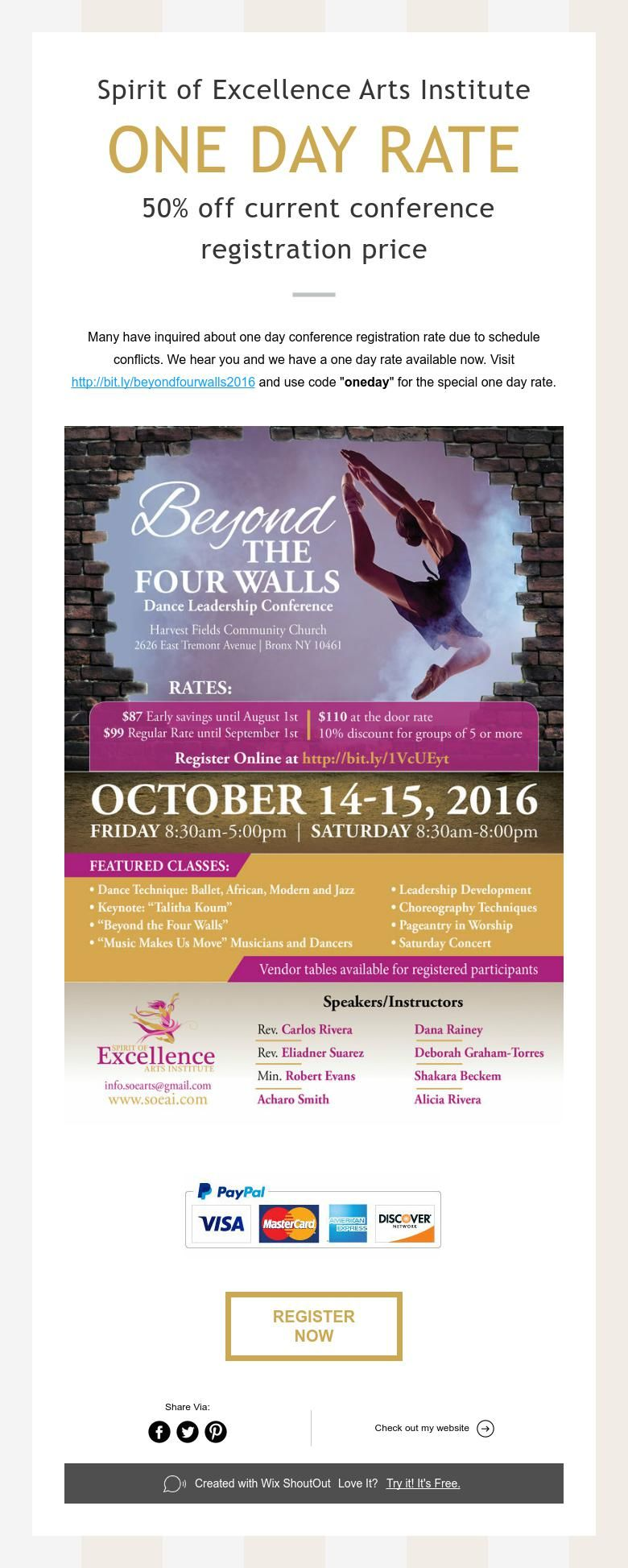 Spirit of Excellence Arts Institute  ONE DAY RATE  50% off current conference registration price