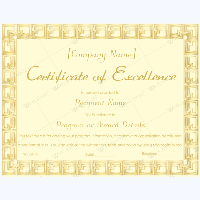 Business Certificate Of Excellence Excellence