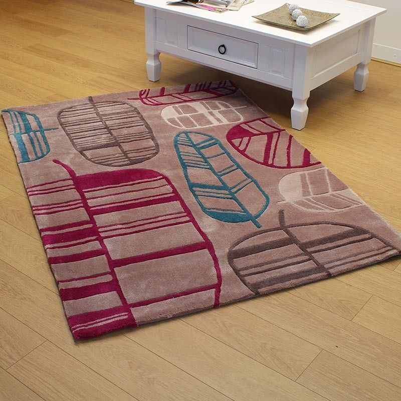 Leaf Fuchsia Blue - large sizes available - free delivery - Land of Rugs
