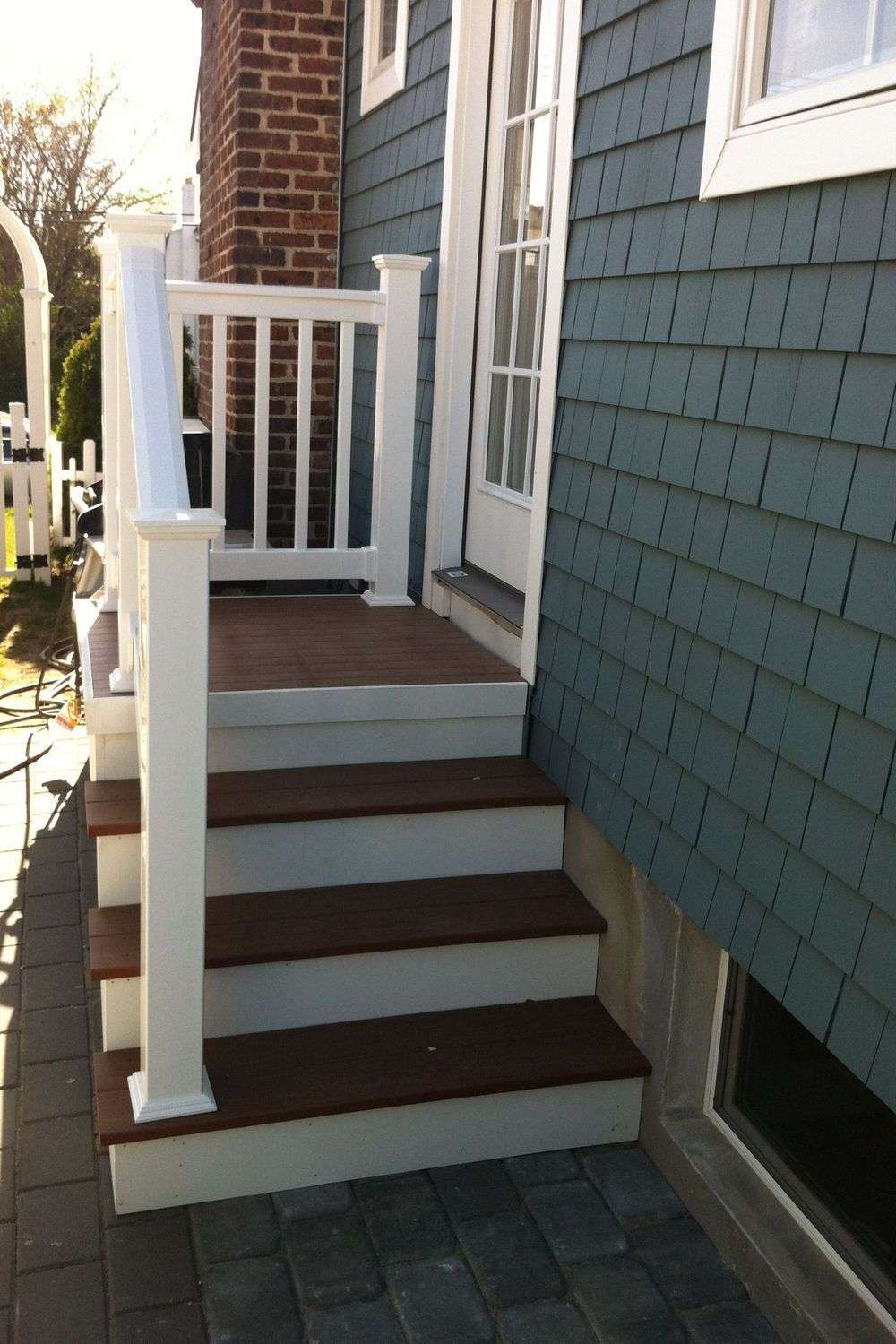 Porch Deck Stairs Patio Property Brick In 2020 Patio Stairs House Entrance House With Porch