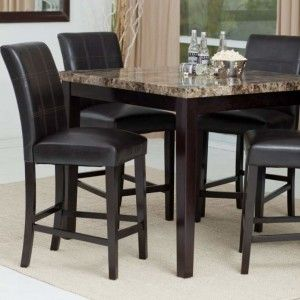 Black Wood High Dining Table Furniture Modern