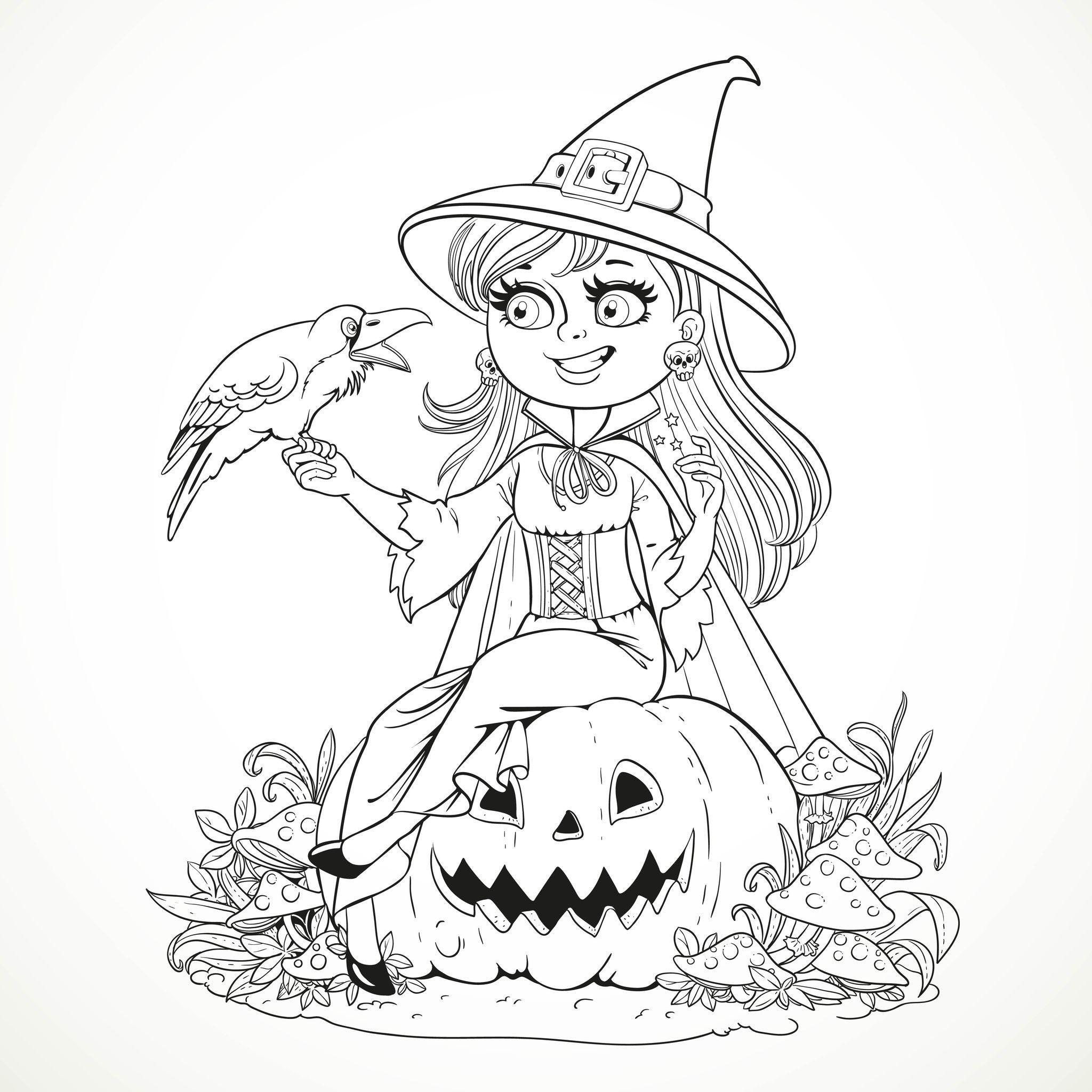 Une sorcière souriante et son petit corbeauA partir de la
