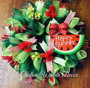Watermelon Wreath, Summer Watermelon Wreath, Happy Summer Watermelon Wreath, Watermelon Deco Mesh Wreath