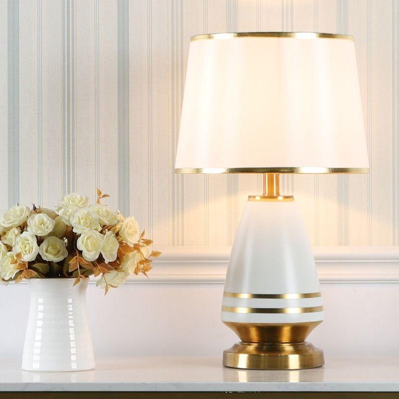 Lampe De Table En Ceramique Pour Chambre Abat Jour En Tissu Style